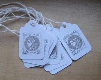 petite french market postage stamp tags set of 10
