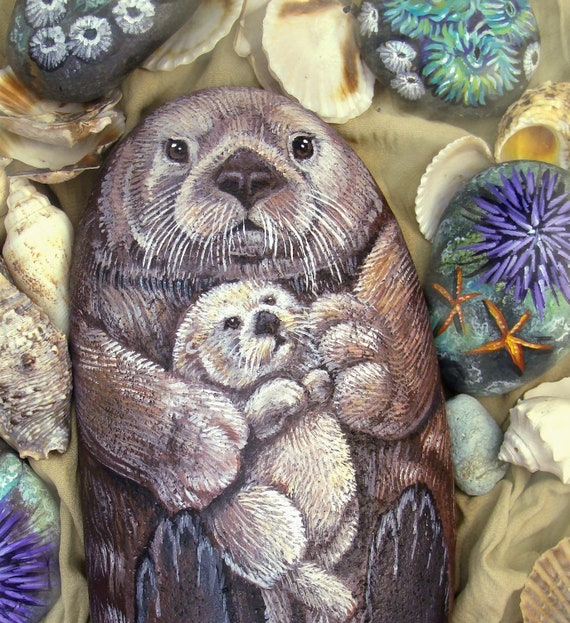 Sea Otter Original Painting on Beach Stone - Mom and Pup - Hand Painted- Large painted rock