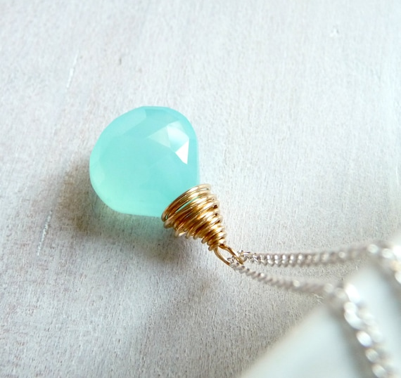 Aqua Blue Chalcedony Necklace, Wire Wrapped Gold Fill Jewelry, Sterling Silver Chain Necklace, Summer Jewelry