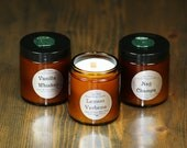 3 Soy Wax Wood Wick Candles - Choose Your Scents
