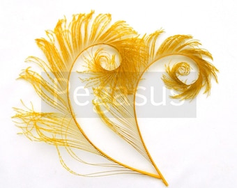 GOLDEN YELLOW Curled Peacock Sword Tail Feathers (4 or 12 Feathers, 12 color option) wedding bouquets, floral center pieces,hat,millinery