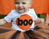 Girls Boo Halloween Shirt in Black and Orange Polka Dot Sizes 3m-8