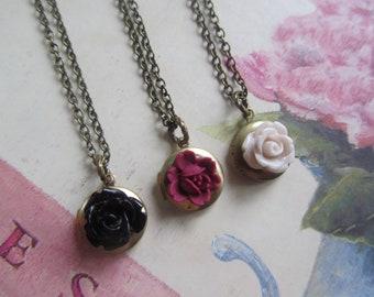 Rose Locket,Flower Locket,Small Locket,Flower Necklace,gold Locket,Vintage Locket,Bridesmaids Gift,Flower Girl Necklace,Black,Mauve,Cream