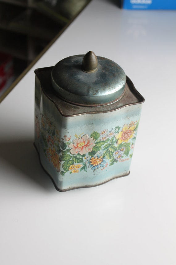 Vintage Murray Allen Tin - Teal with Embossed Floral Pattern