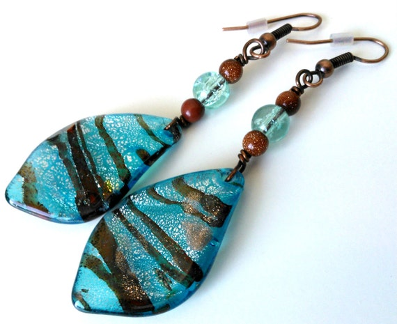 Sky Blue and Gold Leaves - Fall Earrings, Murano Glass, Goldstone, Leaf, Light Blue, Brown, Gold