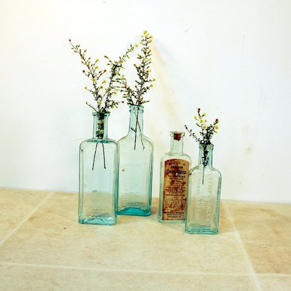 Vintage Aqua Bottle Collection / Blue Green Apothecary 4 Bottles
