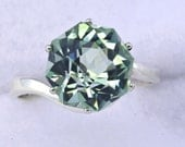 Green Amethyst Alternative Color Engagement Ring Rose Petal Custom Cut