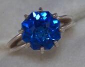 Reserved for Violet, Blue Quartz Unique Engagement Ring 9ct Rose Petal Custom Cut