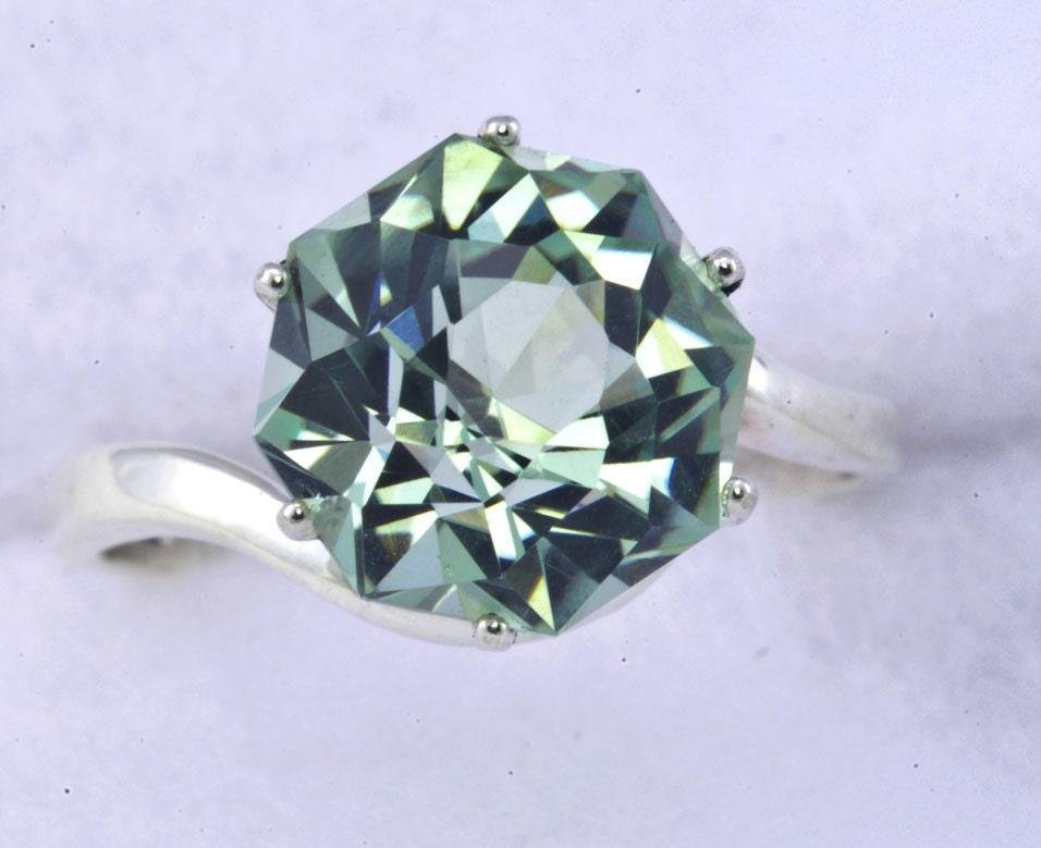 green amethyst unique engagement ring petal custom cut