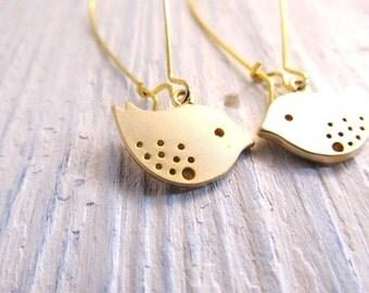 Bird Earrings, Gold Charms on Kidney Ear Wires, Dangle Earrings, Sparrow, Everyday Jewelry