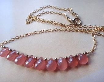 Pink gemstone necklace pink and gold rose and gold rhodochrosite necklace pink block necklace pink row necklace pink bar necklace handmade