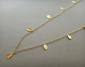 Gold leaf long necklace, gold plated leaf necklace, tiny leaf long necklace, multi leaf gold chain necklace, layering necklace, handmade