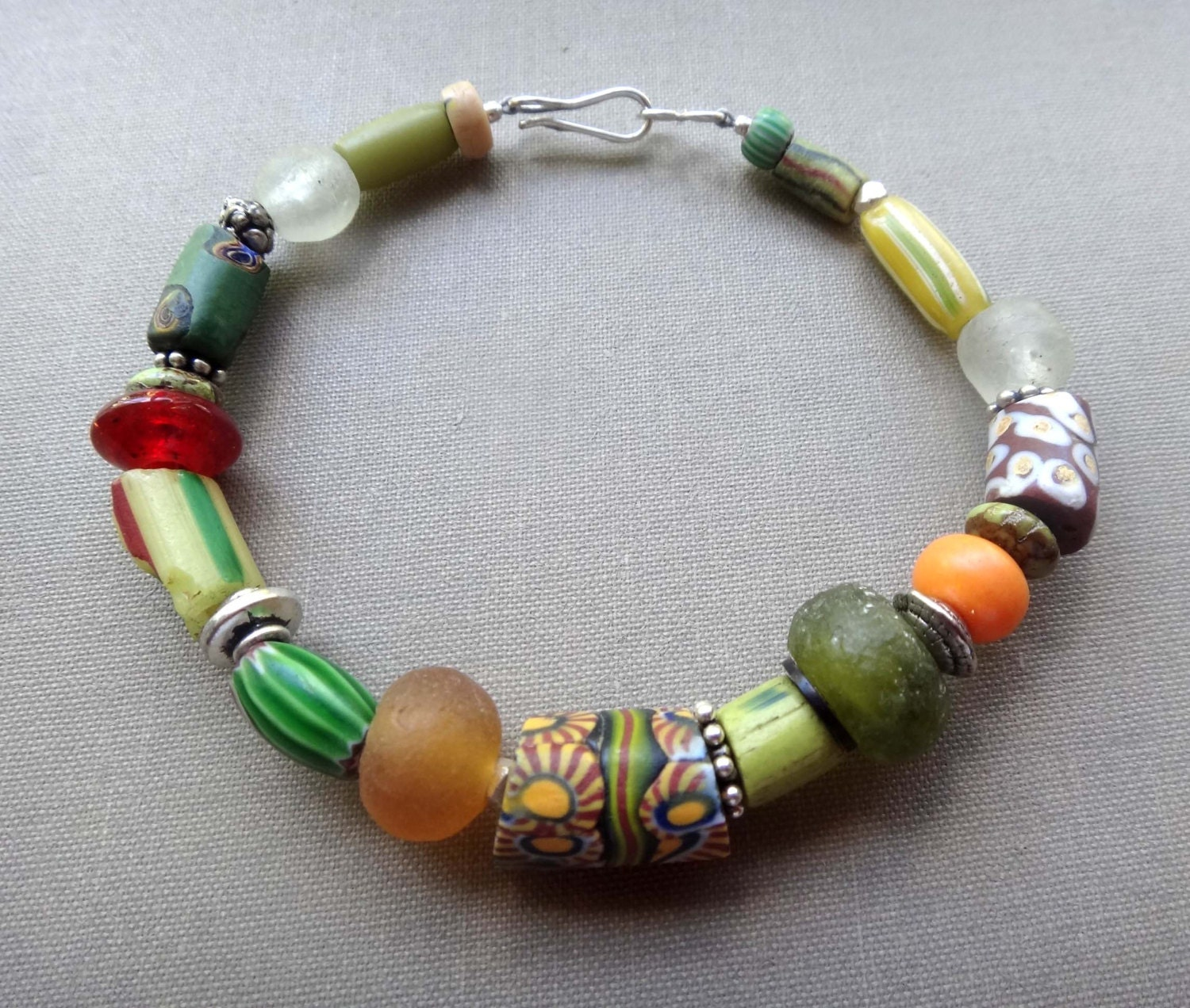 Bead Glass African Beads: Items Similar To African Trade Bead Bali Silver Ghana