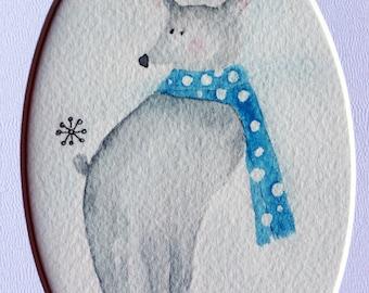 Celia, grey dog with blue polka dot scarf in snow, winter, snowflake, simple, small art, whimsical, childrens art, nursery art, original