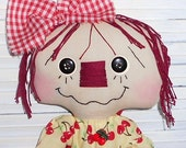 Annie Bag Holder Primitive Raggedy Ann Annie Bagholder doll with cherries fabric dress and tag