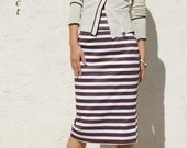 High Waist Pencil Skirt-Coffee Brown Stripe
