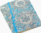 Composition notebook cover - fabric cover - Blue Paisley