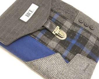 grey blue plaid wool, iPad 2 case vintage, Eco Friendly  Recycled suit coat