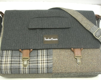 Messenger Bag ,  15 inch Laptop Sleeve, tote bag, Trunk Latch,  Large, grey plaid wool,cycled Suit Coat,