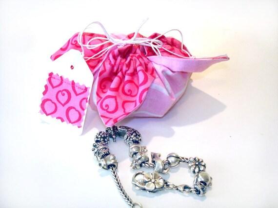Cotton reusable mini gift bag, jewelry travel bag, hot pink