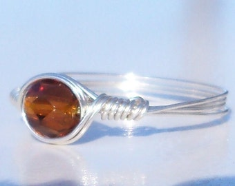 Molasses Czech Glass Argentium Sterling Silver Wire Wrapped Ring