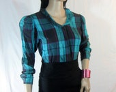 80's ESPRIT Plaid Blouse Teal and Pink XS S