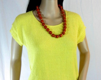 1980's YELLOW SLOUCH SWEATER Top Size M L