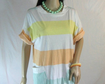 80's Striped Slouch T-Shirt Dress with Pockets Size S M L