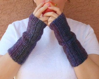 Spectrum Wool Blend Variegated Purple Fingerless Gloves in Shades of Plum, Royal Purple, Violet, Amethyst, Arm Warmers Women MADE TO ORDER