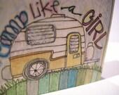 Camp Like a Girl... wooden block art piece