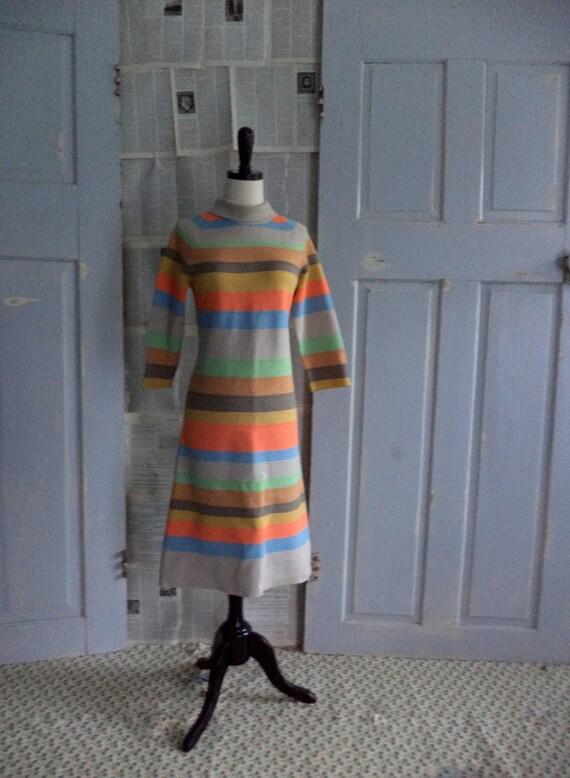 Vintage 1960s Dress Striped 60s Dress Womens Fall Fashion Size Small