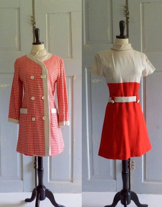 1960s Mod Vintage Dress Tomato Red Mini Dress and Jacket Womens Fall Fashion Size Small