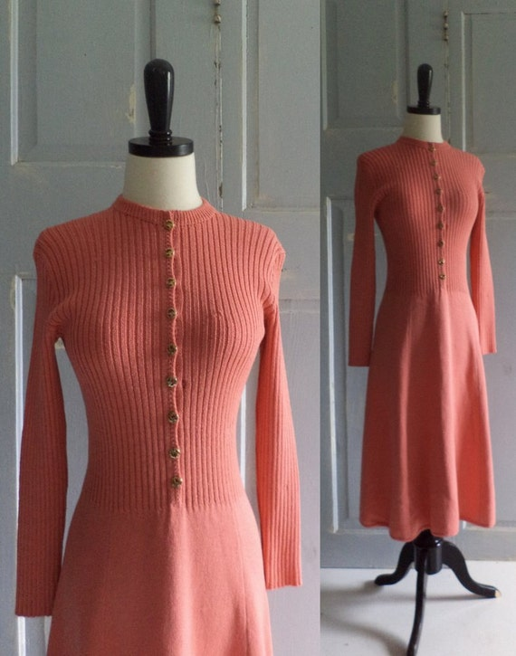 Vintage 1970s Sweater Dress St John Cinnabar 70s Fitted Ribbed Long Sleeved Womens Size Small