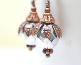 Beaded Metallic Silver and Copper Earrings, Handmade Boho Dangles, Mixed Metal Jewelry