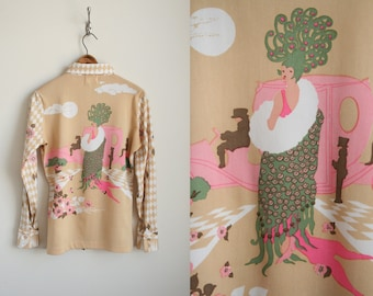 70s Graphic Shirt - Peacock and Garden Scene - Salome - Harlequin Diamond Print