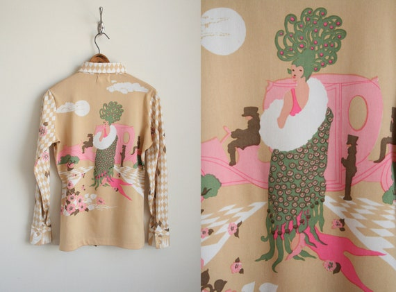 70s Graphic Shirt - Peacock and Garden Scene - Salome - Harlequin Diamond Print