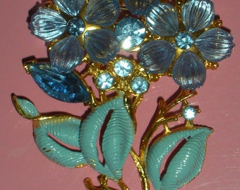 Vintage Blue Flower Brooch with Rhinestones