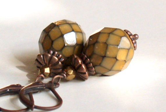 Beaded Jewelry Moss Colour Czech Glass Beads And Copper Earrings