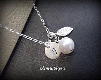 Bridesmaid initial necklace, Leaf charm necklace, Hand stamped jewelry, Sterling silver, Personalized gift, Wedding bridal party gift