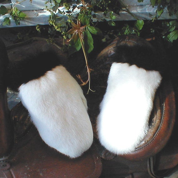 Rabbit fur mittens with skunk trim handmade small with red fleece liner