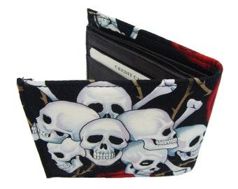 skulls red roses  Men  Wallet   Cotton fabric  US Handmade  Wallet