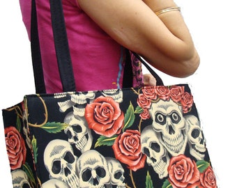 Skeleton Skulls Rose Tattoos US handmade bag Alexander Henry Fabric Handbag Purse, new ,rare