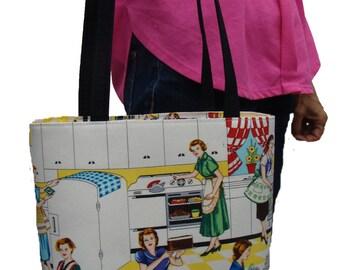 US Handmade Handbag Shoulder Bag With EC Home Kitchen 50s Pattern Cotton Fabric , New, Rare