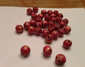 Round Red Wooden beads with patterns