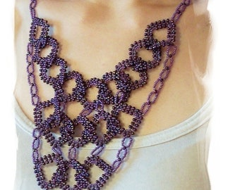 Diamond Link Necklace Pattern, Beading Tutorial in PDF