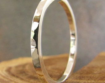 Hammer texured Square Silver Stacking Ring