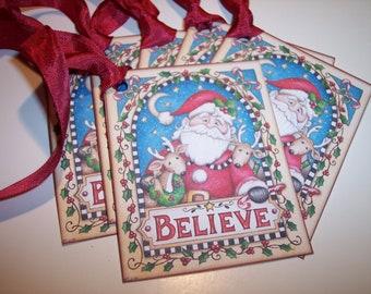 Believe In Santa Tags set of 6