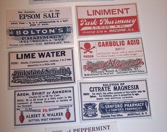 Poison and Medicine Halloween Labels Sticker Set of 18