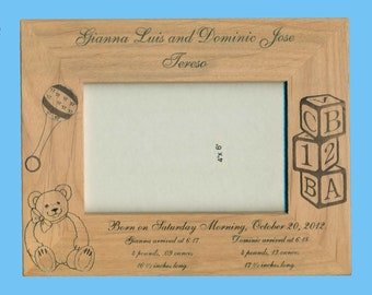Personalized Baby Frame for Twins - Birth Information