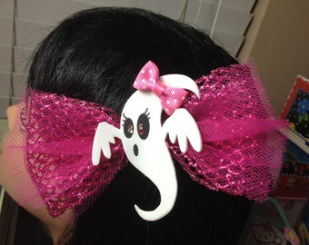 Pink Glitter Sparkle Bow w/ Girly Ghost  tulle hair Clip